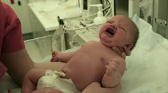 Crying Newborn at Hospital Stock Footage