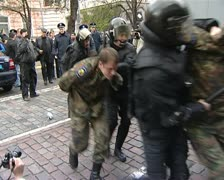 Police arrested the nationalists - stock footage