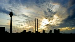 Germany Dusseldorf late afternoon Stock Footage