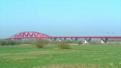 Train on a bridge Stock Footage