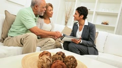 Aged African American Couple Home Financial Meeting Stock Footage
