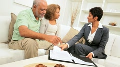 Female Financial Expert Home Meeting Seior Couple - stock footage