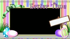 Easter Eggs Spring Grass Sign Scrapbook Pastel Stock Footage