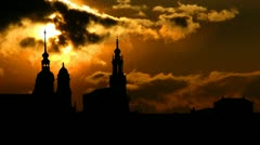 Germany Elbe Dresden sunset Stock Footage