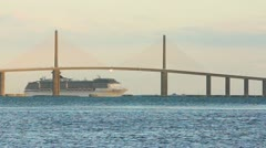Cruise ship passing under The Skyway Bridge - stock footage