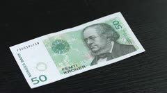 Norwegian Krone counted on a table Stock Footage