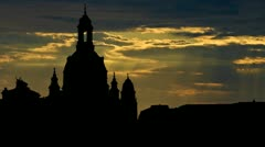 Germany Frauenkirche Dresden sunbeams Stock Footage