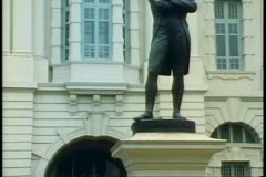 Statue of Sir Stanford Raffles, the founder of Singapore Stock Footage