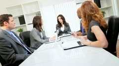 Multi Ethnic Business Team Meeting Hearing Disappointing News Stock Footage