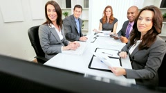 Multi Ethnic Business Team Good News via Video Conference - stock footage