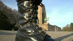 10672 nazi boots walk emperor monument Stock Footage