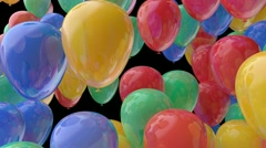 Red yellow and green balloons transition with alpha Stock Footage