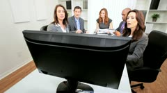 Video Conference Meeting Ambitious Business Team - stock footage