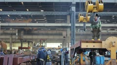 Men at work in metal industry - stock footage