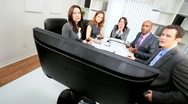Multi Ethnic Business Team Disappointing News Video Conference Stock Footage