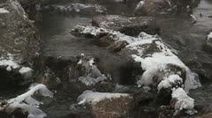Garbage in the winter river Stock Footage