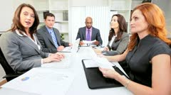 Young Multi Ethnic Business Team Video Conference Meeting Stock Footage