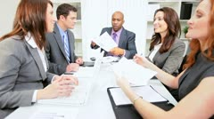 African American Businessman   Congratulating Team Colleagues - stock footage