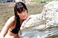 Sad model on the beach Stock Photos