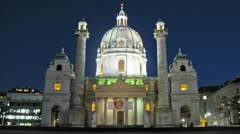 Karlskirche Church stand in southern part Karlsplats Stock Footage
