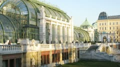Palmenhaus stands in Hofburg Palace park Stock Footage