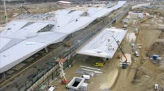 Workers do reconstruction of southern station Sudbahnhof in Vienna Stock Footage