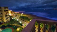 Umdloti Beachfront TL Night to Sunrise - stock footage