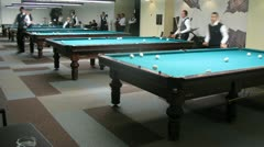 Championship of Moscow on billiard sports among men passes in billiard center Stock Footage