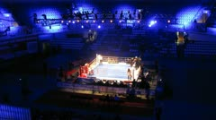 Boxers battle on ring, on World series of boxing among club commands Stock Footage