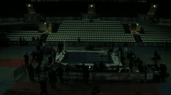 Workers disassemble ring after competitions in sports Palace Krylatskoe Stock Footage