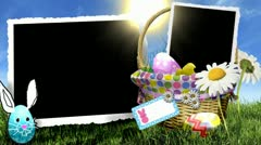 spring easter basket daisy eggs photo frames - stock footage