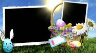 Spring easter basket daisy eggs photo frames Stock Footage