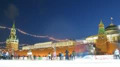 People skate on main skating rink of country near Kremlin in Tatjana day Stock Footage