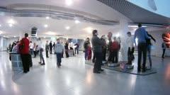 Visitors examine exhibits of Moscow planetarium Stock Footage