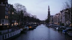 Amsterdam canal at twilight Stock Footage