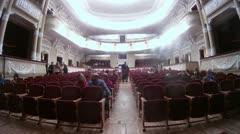 Audience fills the auditorium before musical of Istviksky witches on Palace Stock Footage
