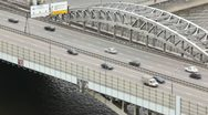 Cars quickly go on Andreevsky bridge on multilane highway Stock Footage