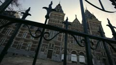 Amsterdam rijks museum back gate pan Stock Footage