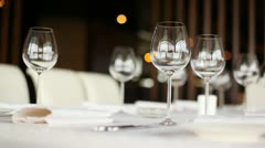Wineglasses for wine stand on table, closeup Stock Footage
