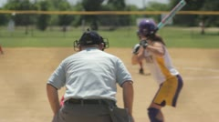 Stock Footage - Behind home Plate - Ball pitched - Strike! Stock Footage