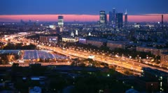 Business center Moscow City stands against city landscape Stock Footage