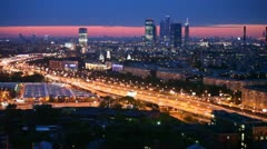 Business center Moscow City and White House stands against city landscape Stock Footage