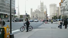 Downtown traffic intersection and City Hall in Philadelphia, USA Stock Footage