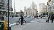 Stock Video Footage of Downtown traffic intersection and City Hall in Philadelphia, USA
