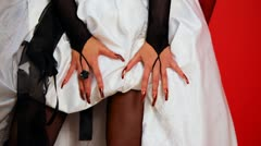 Hands and skirt bride dress in style of Goths Stock Footage