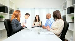 Female Client Meeting Advertising Agency Executives Stock Footage