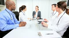 Meeting Multi Ethnic Medical Executives Stock Footage