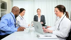 Hospital Doctors Successful Meeting Financial Consultant - stock footage