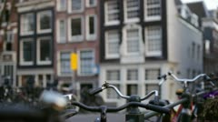 Amsterdam street bikes shallow2 Stock Footage