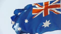 Australian flag flutters in wind. Stock Footage